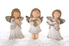 Three christmas angels in white isolated for decoration Stock Image