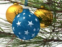 Three christmas ball. And christmas tree over white - digital artwork Royalty Free Stock Photos
