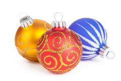 Three christmas ball, isolated Stock Image