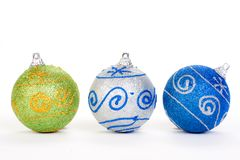 Three christmas ball, isolated Stock Photography