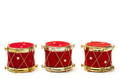 Three christmas ball ornaments in drum shape Royalty Free Stock Image