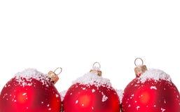 Three Christmas ball snow Royalty Free Stock Image
