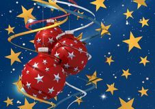 Three christmas ball  on starry background. Three christmas ball and colored bow on starry background Royalty Free Stock Image