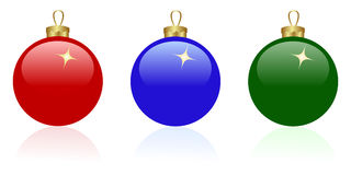 Three christmas balls. Three christmas glass balls isolated on a white. Vector illustration Royalty Free Stock Images