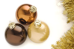 Three Christmas Balls. Isolated over a white background royalty free stock photos