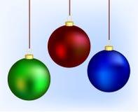 Three christmas balls. Three different christmas balls made with mesh Stock Image