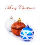 Three christmas balls. Isolated on white background Royalty Free Stock Photo