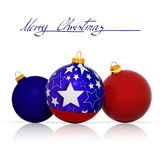 Three Christmas balls with colors and elements from the flag Royalty Free Stock Images
