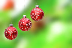 Three christmas balls hanging Stock Photos