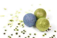 Three christmas balls isolated on white background. Three christmas balls isolated on a white background stock photography