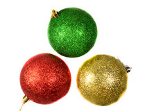 Three Christmas balls isolated on white Royalty Free Stock Images