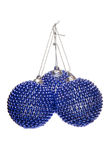 Three Christmas Balls Made Of Blue Beads Royalty Free Stock Photos