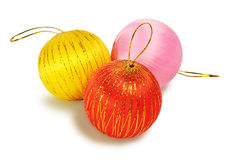 Three Christmas balls Stock Photo