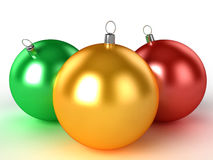 Three Christmas Balls Of Different Colors 2 Royalty Free Stock Image