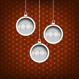 Three Christmas balls. Snow flakes decoration. Vintage style. Red background Royalty Free Stock Photos