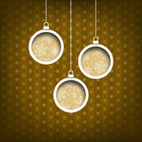Three Christmas balls. Snow flakes decoration. Vintage style. Yellow background Stock Photography