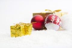Three Christmas balls on white background Stock Photography
