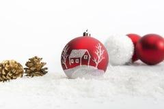 Three Christmas balls on white background Royalty Free Stock Photos