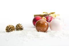 Three Christmas balls on white background Royalty Free Stock Photo