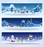 Three Christmas banner. With Santa Claus and reindeer Stock Photos