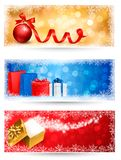 Three christmas banners with gift boxes Royalty Free Stock Image