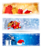 Three christmas banners with gift boxes Stock Photo