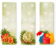 Three christmas banners with gift boxes and snowfl Royalty Free Stock Photo