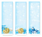 Three Christmas banners with gift boxes Stock Photos
