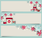 Three christmas banners with giftboxes and Stock Image