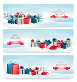 Three Christmas banners with presents. Royalty Free Stock Image