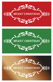 Three christmas banners. In red,green and golden shades Stock Image