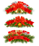 Three Christmas Banners With Red Ribbons. Vector. Royalty Free Stock Photography