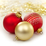 Three christmas baubles Royalty Free Stock Photo