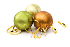 Three christmas baubles Stock Photos
