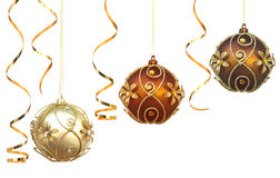 Three Christmas baubles Stock Images