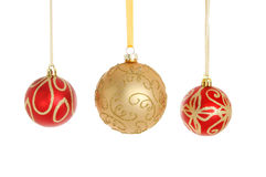 Three Christmas baubles Stock Photography