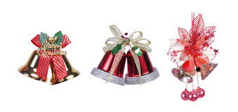 Three Christmas bells with a red ribbon Stock Photography