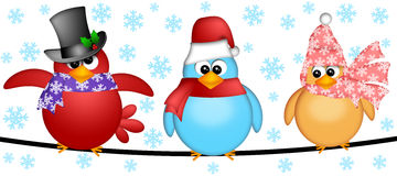 Three Christmas Birds on a Wire Illustration Royalty Free Stock Photo