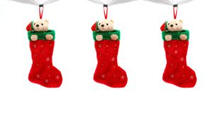 Three christmas boots Stock Image