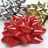 Three Christmas bows. Royalty Free Stock Images