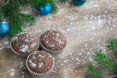 Three Christmas cakes, winter snowbound wooden background, blue Royalty Free Stock Photos
