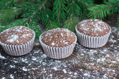 Three Christmas cakes, winter snowbound wooden background, fir b Royalty Free Stock Images