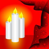 Three Christmas Candles Royalty Free Stock Photos