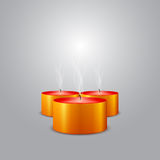 Three Christmas candles extinguished background Royalty Free Stock Image