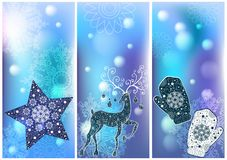 Three Christmas cards Royalty Free Stock Photos