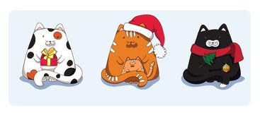 Three Christmas cats Stock Image