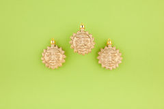 Three Christmas decoration gold suns Stock Photo