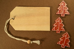 Three Christmas decoration with pricetag Royalty Free Stock Photography