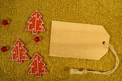 Three Christmas decoration with pricetag Stock Image