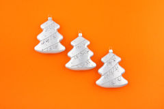 Three Christmas decoration silver firs Stock Image